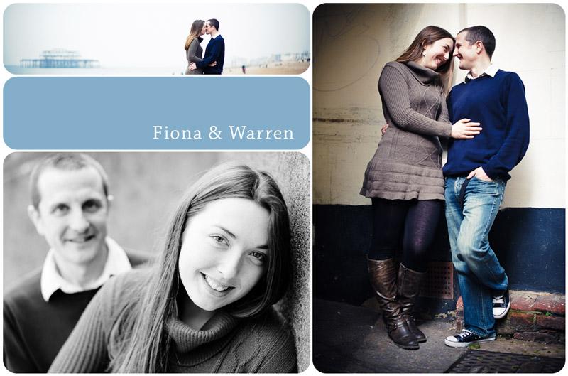 lovely couple pose for pre-wedding photos in Brighton town