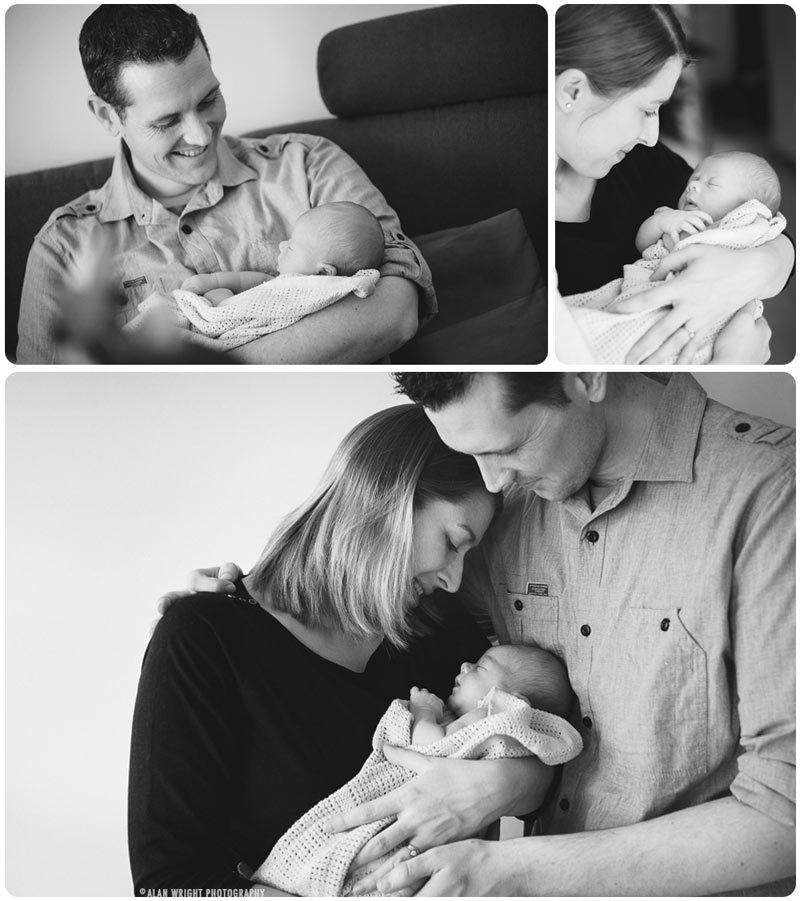 Montage of new parents doting over their newborn baby