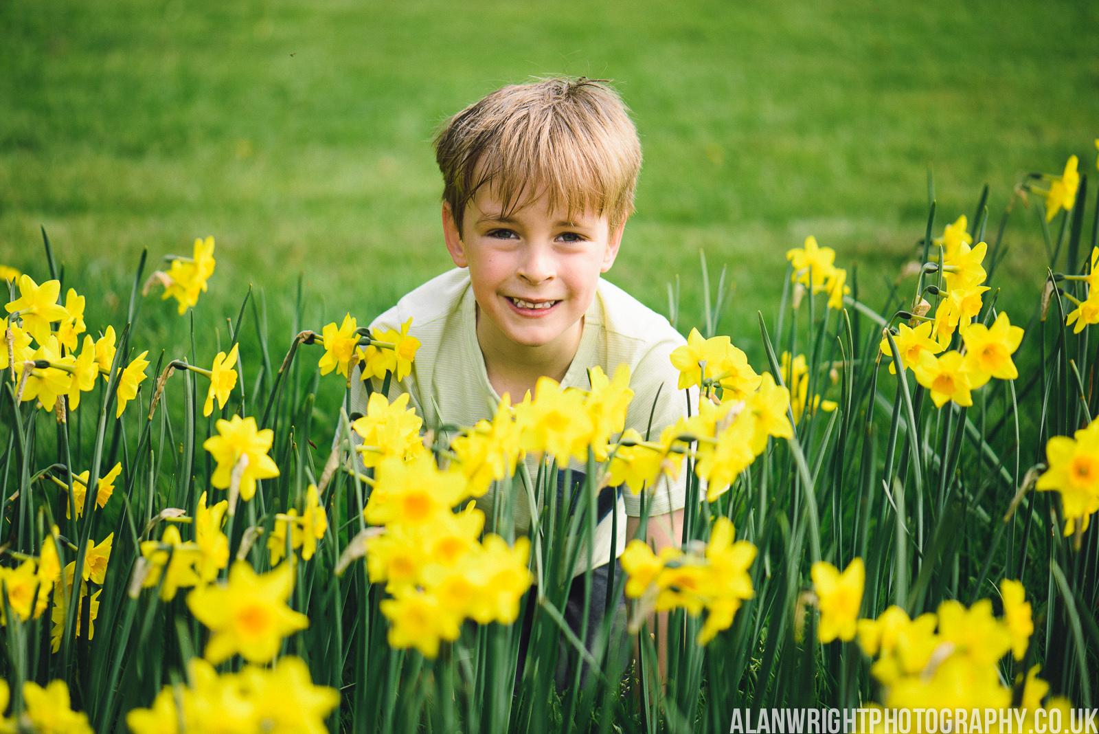 Boy hides in the daffodils