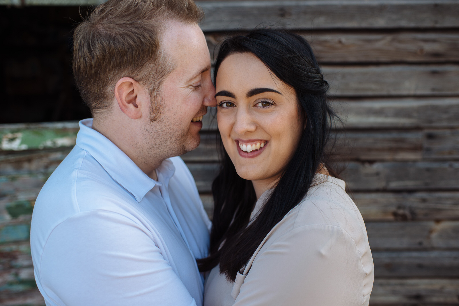 Couple pose for portraits