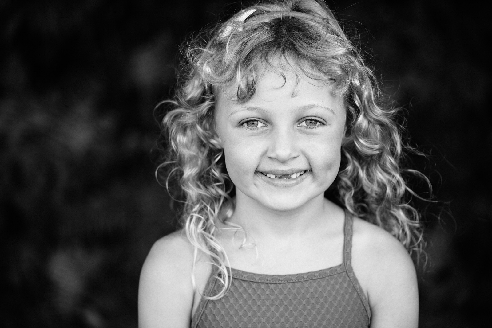 Stunning smile - Black & white children's photograph